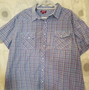 Mens plaid Short Sleeve Shirt sz XXL
